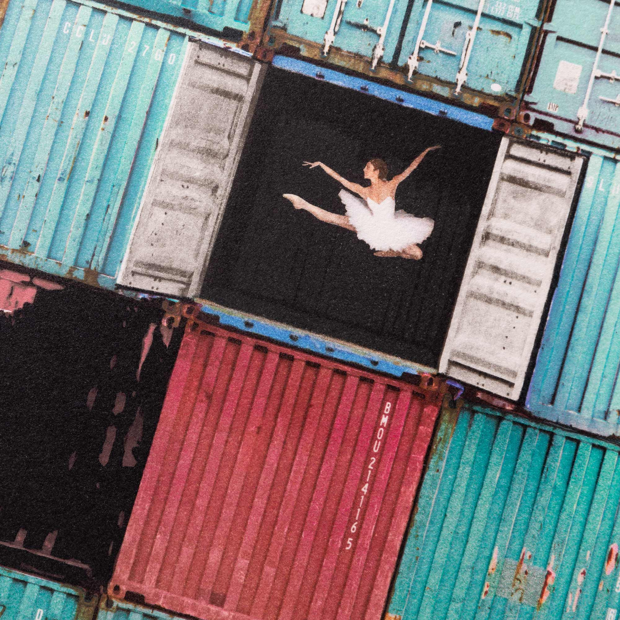 The ballerina jumping in containers, Le Havre, France, 2014
